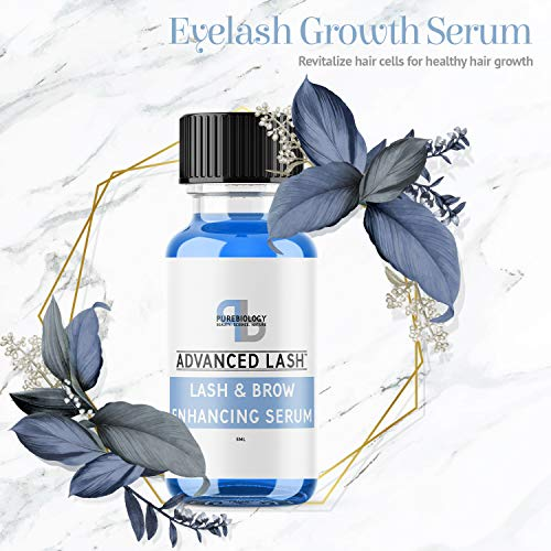 Pure Biology Eyelash Growth Serum & Eyebrow Enhancer with Biotin, Green Tea, Panax Ginseng, Natural DHT Blockers & Breakthrough Hair Growth Stimulating Complex for Men & Women – Applicators Incl.