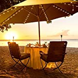 WeiMeet Patio Umbrella Lights, 8 Lighting Mode 104 LED String Lights Battery Operated Waterproof Outdoor Lighting with Remote Control Umbrella Lights (Warm White)
