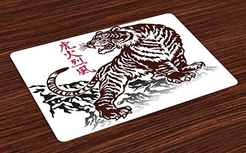 Tiger Pattern Plate (Tattoo Place Mats by Ambesonne, Wild Chinese Tiger with Stripes and Roaring while its Paws on Rock Asian Pattern, Washable Placemats for Dining Room Kitchen Table Decoration, Brown White)