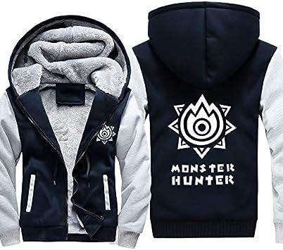 メンズフーディーフルジッパープリントモンスターハンターベルベットパッド入りフード付きセーターコートフリースフーディー、冬に最適