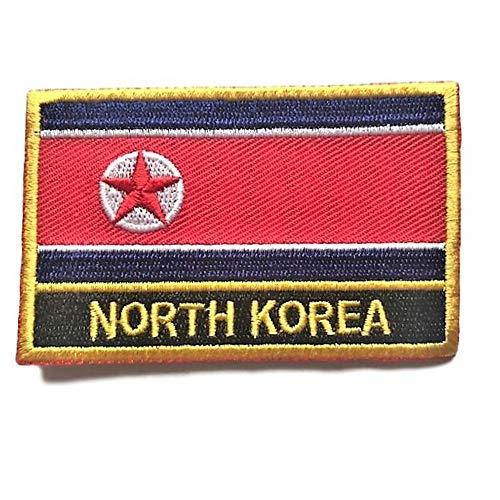 North Korea Flag Sew On Patch (North Korean Iron-On w/Words)