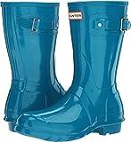 Hunter Women's Original Short Gloss Ocean Blue Rain Boots - 9 B(M) US