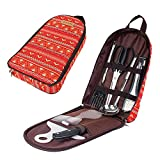 Camping Kitchen Tool Utensil Organizer Travel Set-Portable 8pcs BBQ Camp Cookware Travel Kit with Case/Cutting Board/Ladle/Tongs/Scissors/Knife/Spatula/Rice Paddle