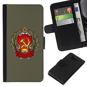 KingStore / Leather Etui en cuir / Samsung ALPHA G850 / Rusia soviética URSS Símbolo Cartel sesión Arte