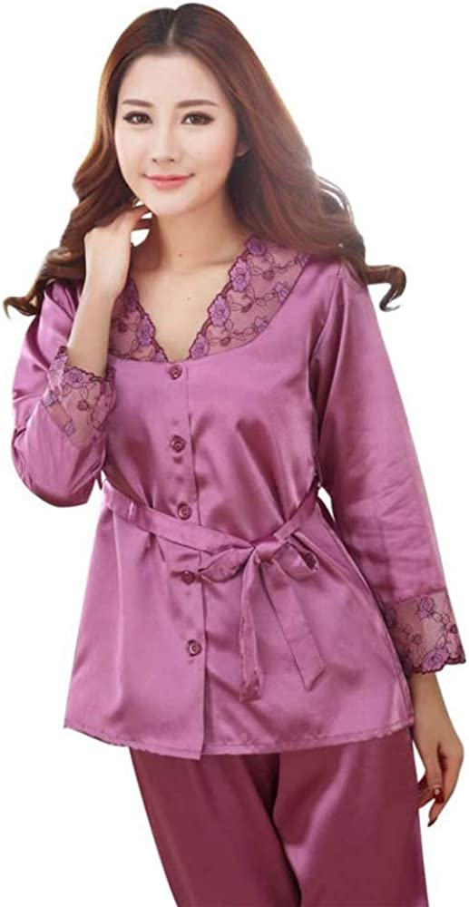 Silk Pajamas Sets Sleepwear Lady Long Sleeve Lace Tops Long Pant Female Home Clothes