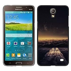 KLONGSHOP // Cubierta de piel con cierre a presión Shell trasero duro de goma Protección Caso - Nube Paseo - Samsung Galaxy Mega 2 //