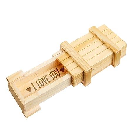 Caja regalo mágica con cerradura rompecabezas y grabado – Love – Amor - De madera clara