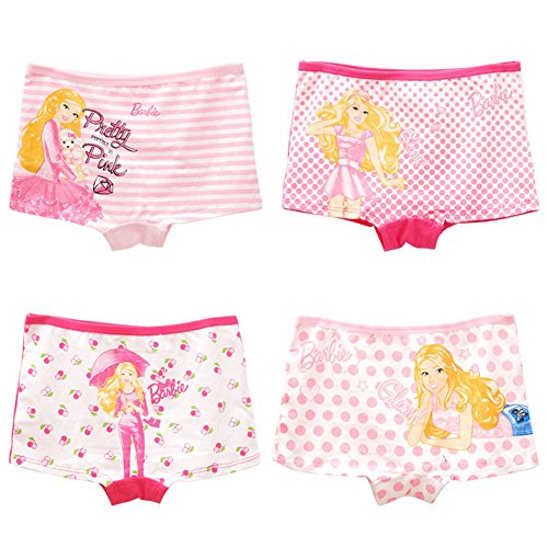 2-8 Years Girls Barbie Princess Pink Boyshorts Panties Random Pattern 4 - Panties Barbie Cotton