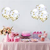SOTOGO 15 Pieces Gold Confetti Balloons 12 Inches Party Balloons With Golden Paper Confetti Dots(Confetti Has Been Put Into The Balloons) For Party Decorations Wedding Decorations And Proposal