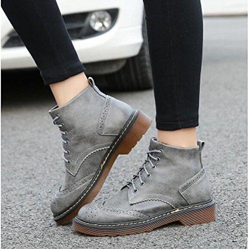 ZHZNVX HSXZ Zapatos de Mujer Otoño Invierno PU Confort Botas de Tacón Chunky Round Toe Botines/Botines de Casual Gris Amarillo Negro,Gris,US7.5/UE38/UK5.5/CN38 38 EU|Gray