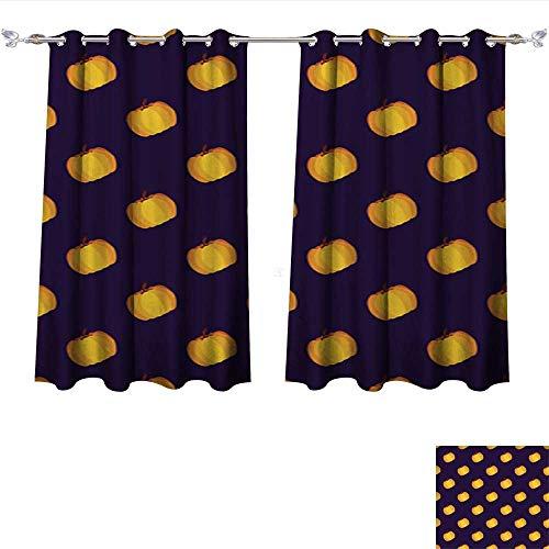 Room Darkening Wide Curtains Purple Yellow Holiday Seamless Halloween Pattern Tie Up Window Drapes Living Room W55 x -