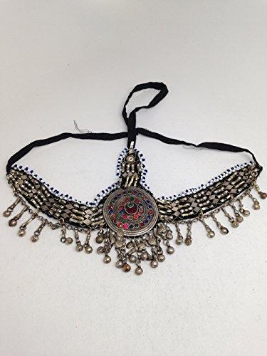 Vintage Afghan Ethnic Kuchi Tribal Bellydance Jingle Glass Headpiece