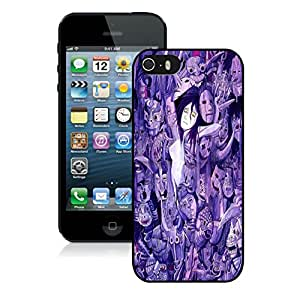 Fashionable And Unique Designed With Purple Faces Cover Case For iPhone 5S Black Phone Case CR-508