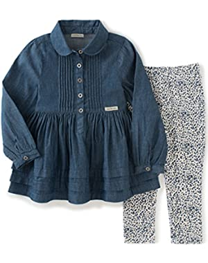 Baby Girls' Denim with Button Tunic and Leggings Set