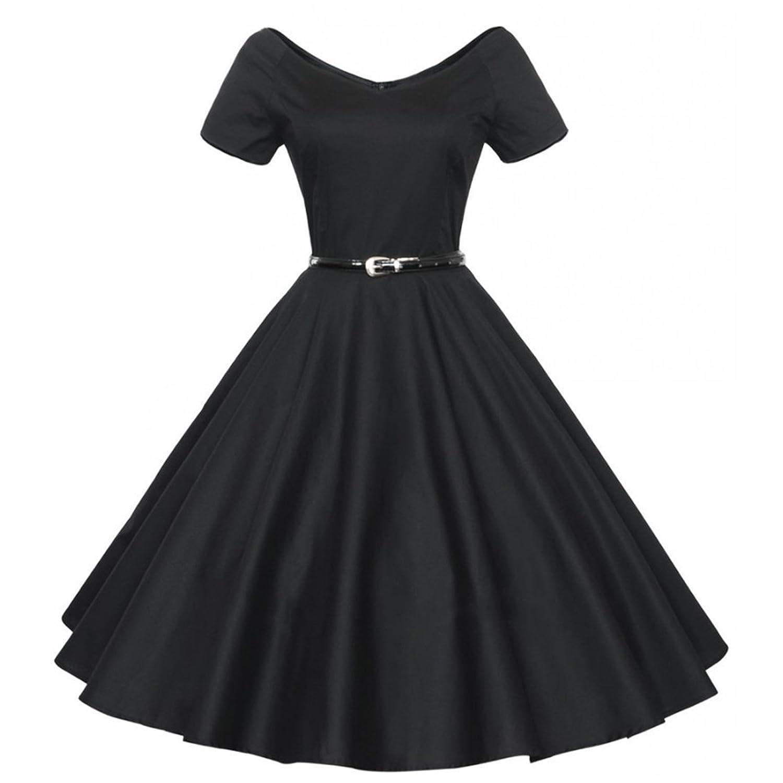 Partiss Damen Frauen Kurzarm 60er Franzoesisch Stil Schleife Vintage Klassisch ElegantKnielang Kleid