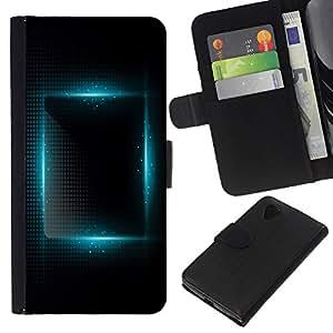 Leather Etui en cuir || LG Nexus 5 D820 D821 || luz azul vibrante plaza noche negro @XPTECH