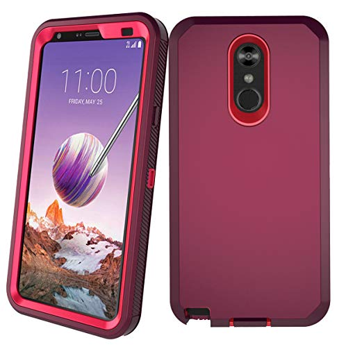 LG Stylo 4 Plus Case, Hybrid High Impact Resistant Rugged Full-Body Shockproof Tri-Layer Heavy Duty Case with Built-in Screen Protector for LG Stylo 4/ LG Stylo 4 Plus (Wine/Rose) (T Mobile Lg Phone Cases)