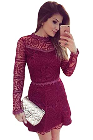 cf21fc1bccaf New Burgundy Lace Skater Dress Office Dress Casual Evening Party Wear Size  UK 8-10  Amazon.co.uk  Clothing