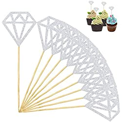 SUMAJU Diamond Cakes Toppers, 24Pcs Silver Glitter Cupcake Topper Decor Bridal Cupcake Picks for Party Wedding Decoration