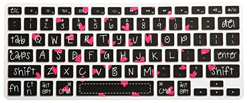 HRH Sweet Heart Big Font Keyboard Cover Silicone Skin for MacBook Air 13 and MacBook Pro 13 15 17 (with or w/Out Retina,Not Fit 2016 MacBook Pro 13 15 with/Without Touch Bar) US Layout