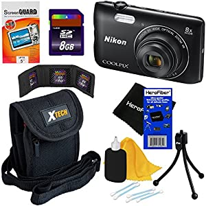Nikon COOLPIX A300 20.1 MP Digital Camera with 8x Zoom NIKKOR Lens & Built-in Wi-Fi (Black) - International Version (No Warranty) + 7pc 8GB Accessory Kit w/ HeroFiber Ultra Gentle Cleaning Cloth