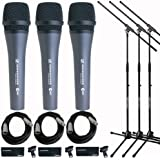 Sennheiser 3x e 835 Wired Cardioid Handheld Dynamic Lead Vocal Stage Microphone - With 3x Pyle PPMCL15 15ft Symmetric Microphone Cable XLR Female to XLR Male, 3x Samson MK10 Lightweight Boom Mic Stand