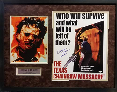 Gunnar Hansen The Texas Chainsaw Massacre Movie Star Signed Autograph Photo Custom Framed 26x20 JSA Witnessed Certified
