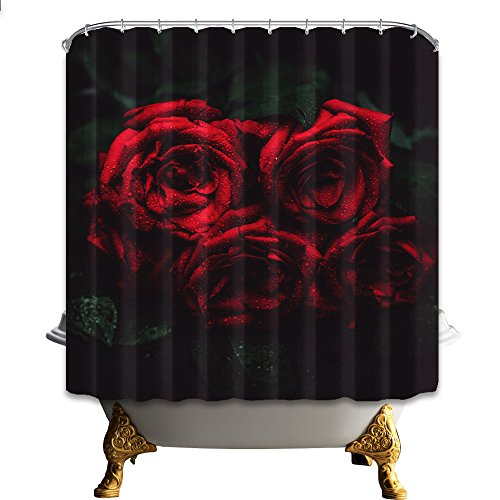 NYMB Dark red roses 69X70 inches Mildew Resistant Polyest...
