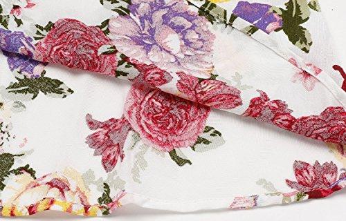 mujer para corta Cuello barco mini Meaneor Vestidos Verano Blanco floral para Manga zxqSzEf7