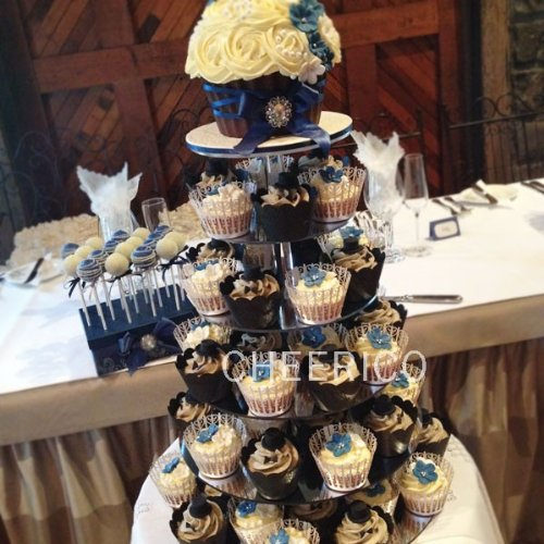 5 Tier Mirrored Effects Round Wedding Acrylic Cupcake Stand Tree Tower Cup Cake Display Dessert Tower