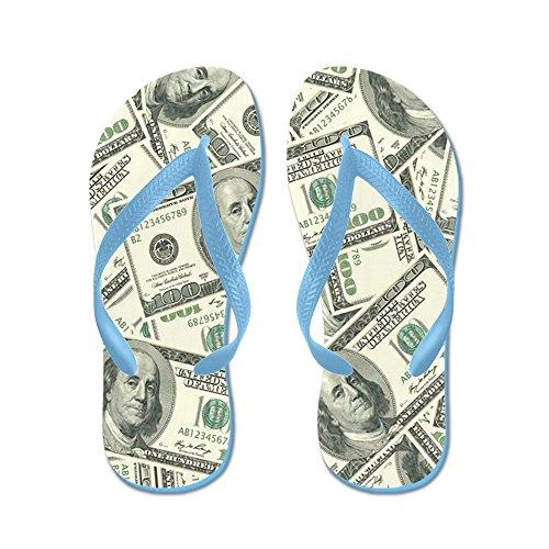 Cafepress 100 Dollar Bill Patroon - Flip Flops, Grappige String Sandalen, Strand Sandalen Caribbean Blue