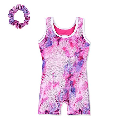 Toddler Painted pattern Athletic Unitards Dancing Tank Sleeveless Leotards for Girls Gymnastics 4-11 Years (120(Recommended age 6-7Y), PinkPurple+scrunchies)