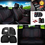 FLY5D PU Leather 5-Seats Auto Car Seat Cover Cushion Front Rear Seat Cover Universal Fit Car floor Mat Armrest Pad (M, Black/Red)