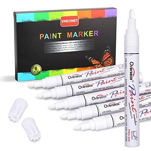 White Paint Pen Metallic Permanent Painting Markers for Fabric Glass Plastic Rock Wood Ceramic Leather Tire Painting,Medium Tip Fast Drying, Water Resistant Ink(6 Pack)