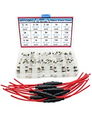 10pcs 5x20mm AGC Fuse Holder Inline Screw Type with 18 AWG wire + 250pcs Quick Blow Glass Tube Fuse Assorted Kit