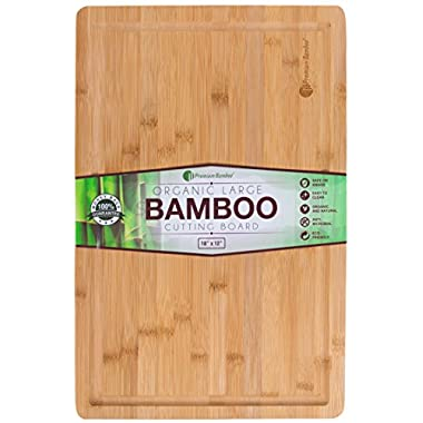 Extra Large Bamboo Cutting Board - 18x12 Thick Strong Bamboo Wood Cutting Board with Drip Groove by Premium Bamboo