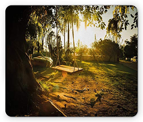 - Landscape Mouse Pad, Natural Park Playground Swings Trees Tranquil Scene in Spring Childhood Theme, Standard Size Rectangle Non-Slip Rubber Mousepad, Marigold Green