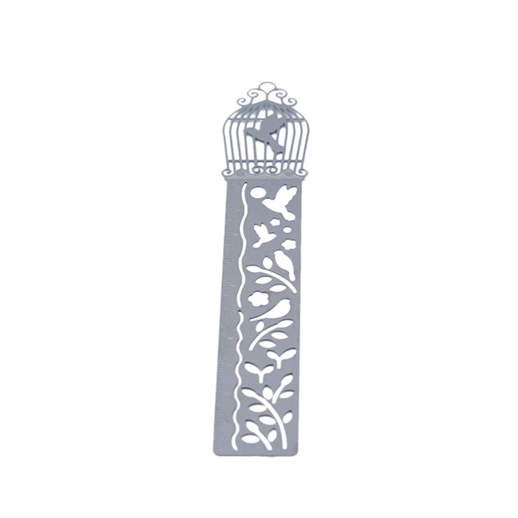 Xeminor Metal Bookmark Hollow Classical Metal Ruler Bookmark Creative Student Gift Retro Stationery Steel Ruler Silver 1 Pcs