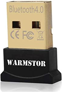 Warmstor Bluetooth Adapter, CSR 4.0 USB Dongle Bluetooth Receiver/Transfer Gold Plated for Laptop PC Computer Support Windows 10 8 7 Vista XP 32/64 Bit