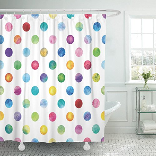 Emvency Shower Curtain Blue Confetti Polka Dot Pattern Watercolor Colorful Circles Waterproof Polyester Fabric 72 x 72 Inches Set with Hooks