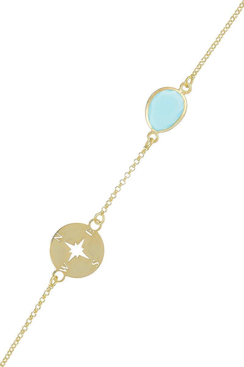 Córdoba Jewels | Pulsera en Plata de Ley 925 bañada en Oro con Piedra semipreciosa. Diseño Rosa de los Vientos Aguamarina Gold