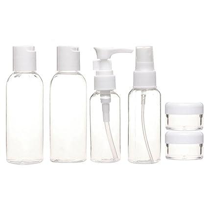 Portátil 6 pcs tamaño de viaje botellas de plástico vacías claro cosméticos contenedor tarros botella de