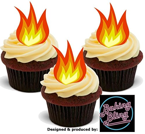 12 x Flames Fire - Fun Novelty Birthday PREMIUM STAND UP Edible Wafer Card Cake Toppers Decoration