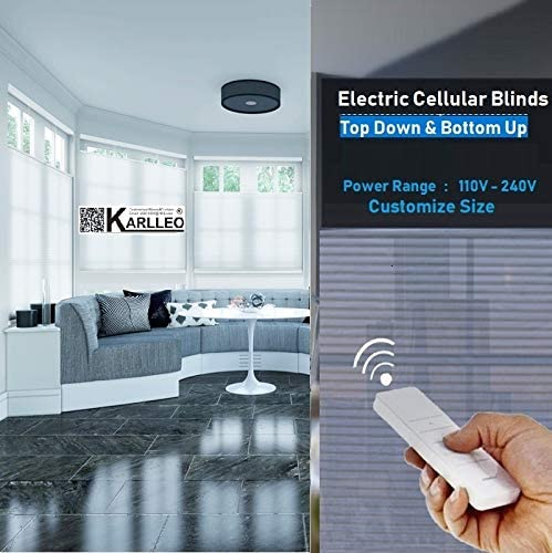 Amazon Com Karlleo Curtain Motorized Electric Cellular Shades Honeycomb Blinds Pleated Blinds Top Down Bottom Up Websize Priced 1pc 39 W X 39 L Power Range 110v 240v Contact Us For Customize Size Home Kitchen