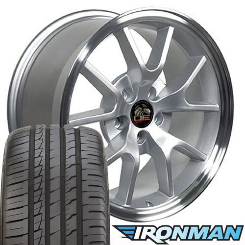OE Wheels 18 Inch Fits Ford Mustang 1994-2004 FR500 Style FR05B Silver Machined 18x9 Rims Ironman iMove Gen2 Tires SET