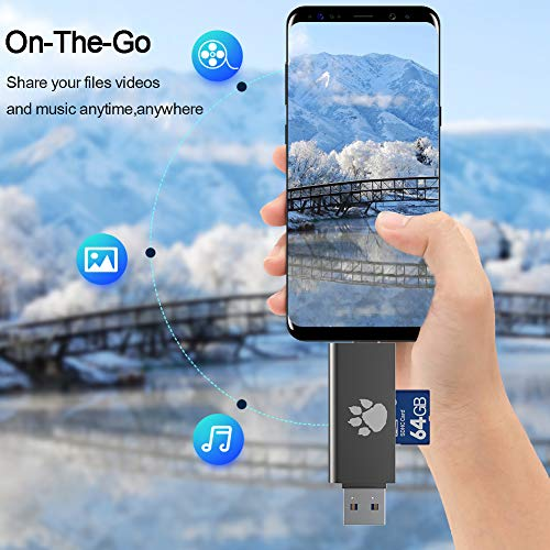Wise Tiger USB Type C SD Card Reader,USB 3.0 OTG Memory Card Adapter Portable 2 Slots for TF, SD, Micro SD, SDXC, SDHC, MMC, RS-MMC, Micro SDXC, Micro SDHC, UHS-I for Mac, Windows, Linux, PC, Laptop