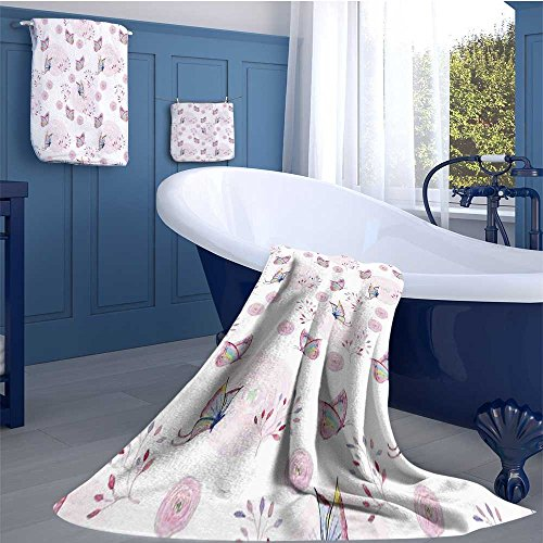 alisoso Butterfly Highly Absorbent Hotel Quality Towels Set Butterflies and Branches Romantic Spring Retro Faith Optimism Change Fly Theme Cotton hand towels set Pink White by alisoso