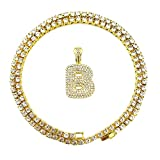HH Bling Empire Iced Out Hip Hop Gold Faux Diamond Bubble Dripping Letter Tennis Chain Necklace 20 Inch (Bubble Letter B)