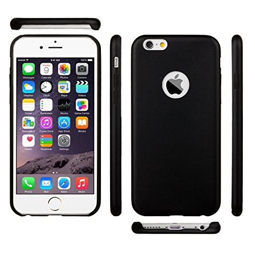 "iPhone 6S Case, LongBang 0.8mm Slim Leather Case Shell Cover for iPhone 6s / iPhone 6 4.7"" - Retail Packagin - Black"