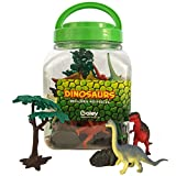 Boley 40 pc Big Bucket of Dinosaurs - Tub of educational dinosaur toy playset with T-rex, Velociraptor and more! - small bucket allows for quick cleanup of your childs pretend play toys!